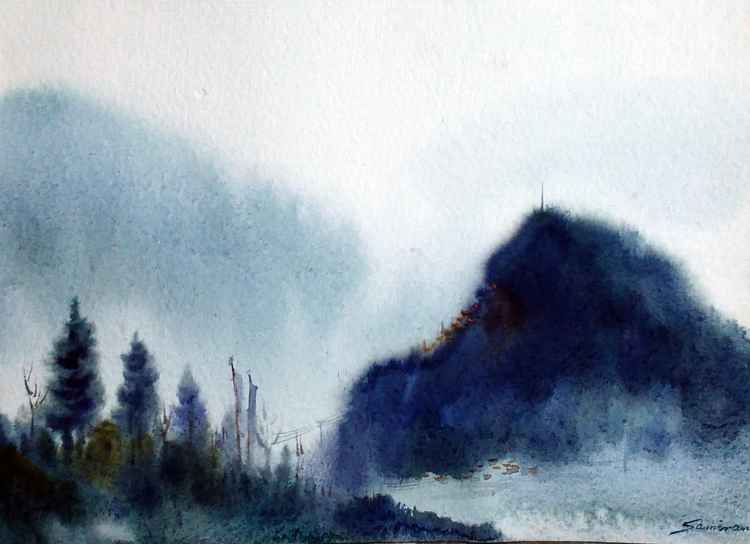 Morning Himalaya Mountain-Watercolor on Paper