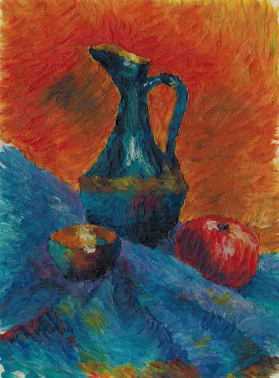 Still life with jar and apple