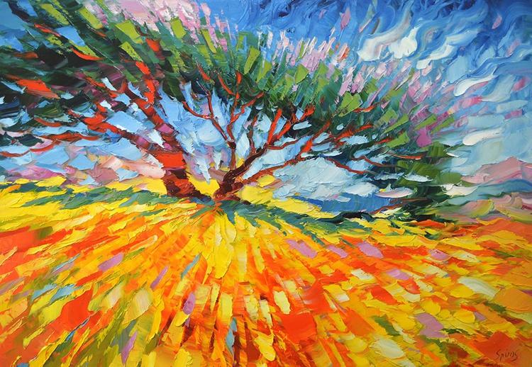 "Hot day - Original Oil palette knife Painting, Size: 70cm x 100cm, (28""x 40"") - Image 0"