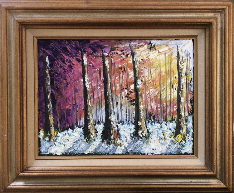 Stained Glass Primeval Winter Forest #1 - Image 0
