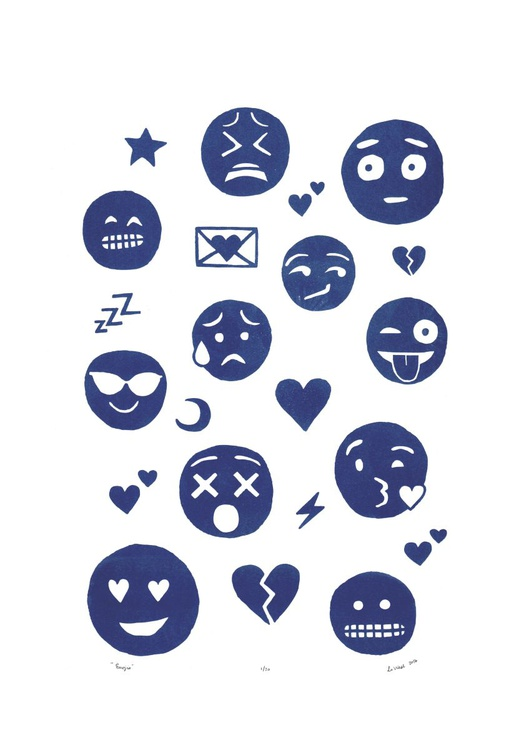 Emoji Print in Delft Blue - Unframed - FREE Worldwide Delivery - Image 0
