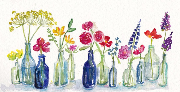 Bottles with flowers - Image 0