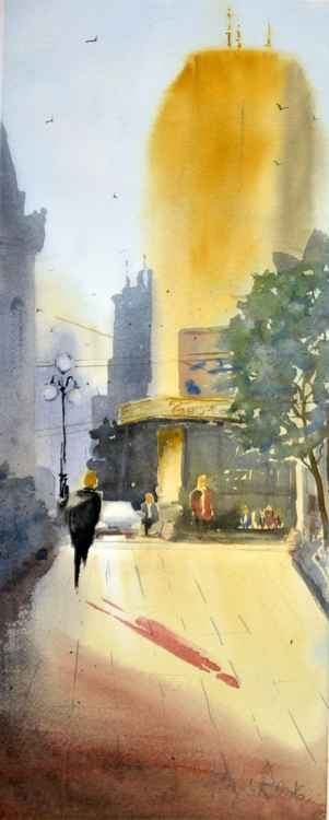 Yellow Morning in Belgrade / Žuto Jutro u Beogradu // original watercolor painting -