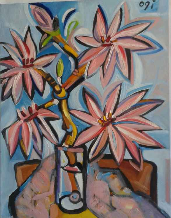 Magnolias in Glass - Blue -