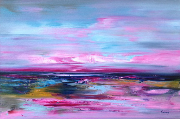 Wonderland - 60 x 90 cm, pink, blue abstract seascape oil painting - Image 0