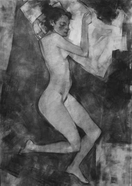 Nude figure. Graphics