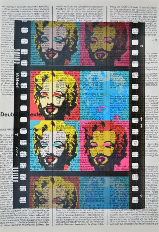 Marilyn Monroe With Beard On Vintage Paper - Image 0