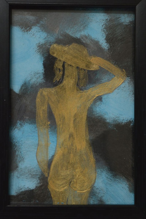 Nude Lady with hat(12.5*18cms,Framed,Ready to Hang) - Image 0