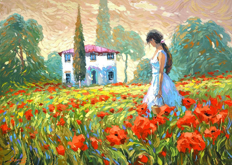 Girl and Poppies by Dmitry Spiros - Image 0