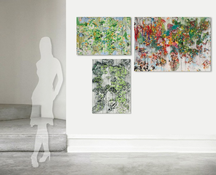 """acrylic painting """"Flower Power"""" triptych, canvas 50/70, 70/50, 100/70 - Image 0"""