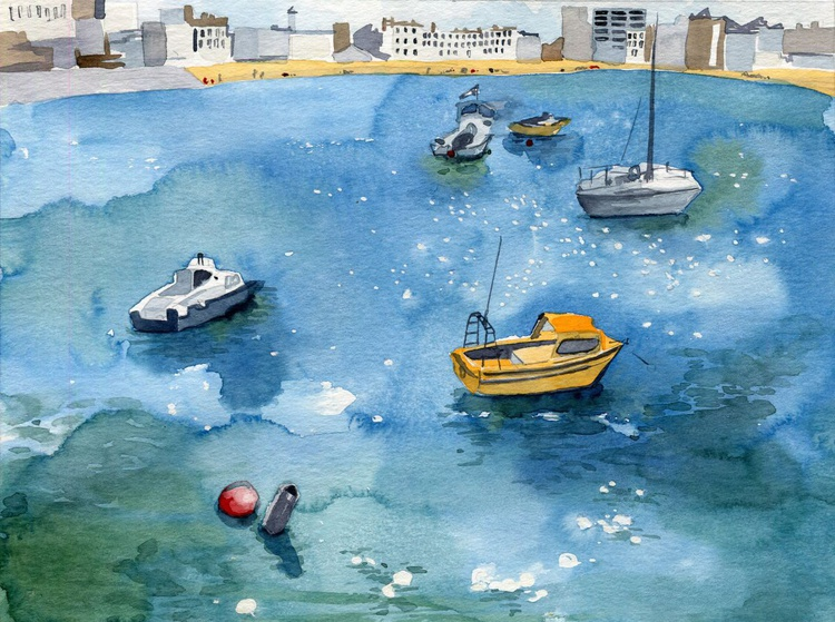 Margate Boats Watercolour - Image 0