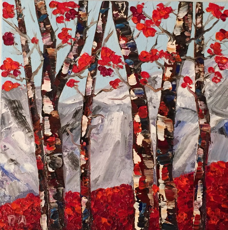 Aspen Trees With Red Leaves - Image 0