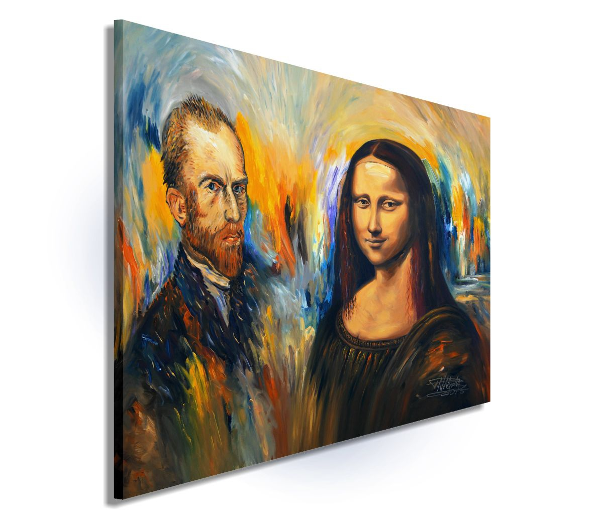Vincent Meets Mona Lisa Xl 1 2016 Acrylic Painting By