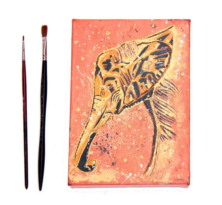 Golden Elephant Box Canvas - Spray Paint & Dimensional Paste - Image 0