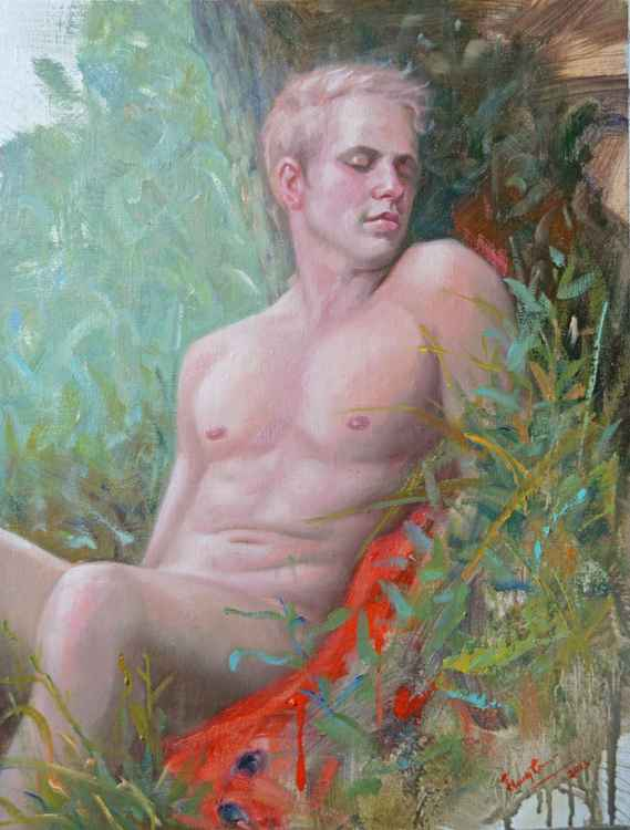 Original Oil paintingl art portrait of male nude men  on linen  #16-4-13