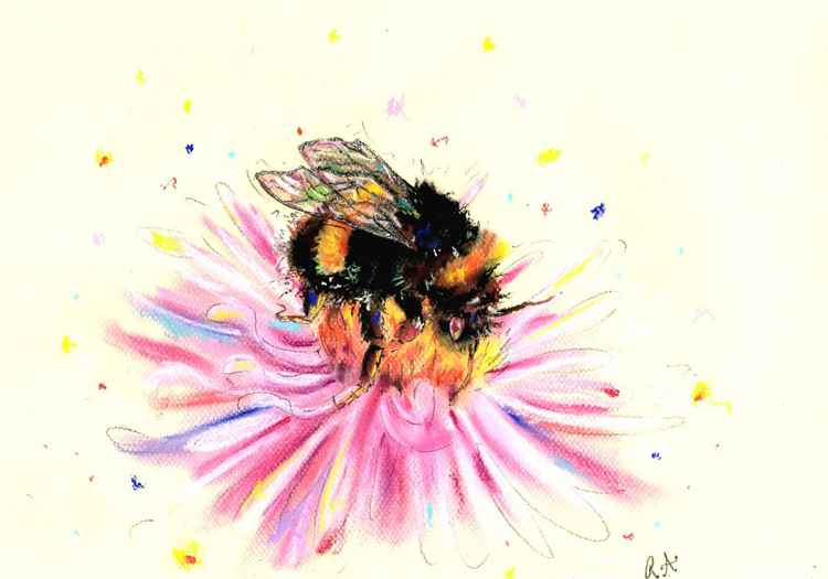 Busy Bumble Bee - Pastel painting of a Bumble bee on paper