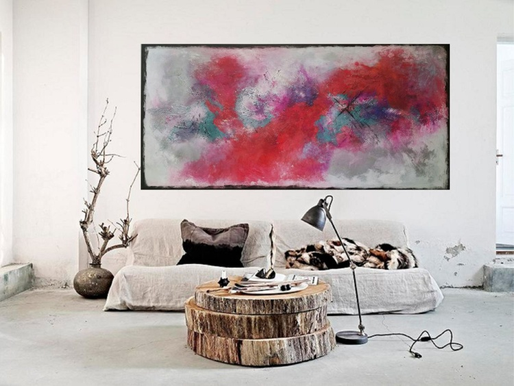 155x74cm( 61x29inch) , Lisbon,  Landscape extra large abstract painting, urban art, large canvas art,  green shades - Image 0