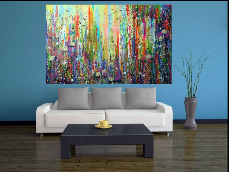 Botanica - Very large painting on two panels (Diptych) - Image 0