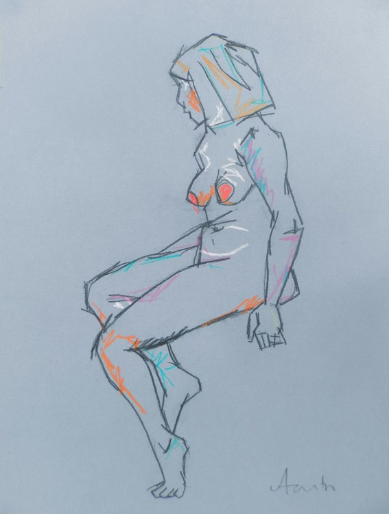 Female Nude Art Original Charcoal Figure Study Life Drawing Seated Gesture Study - Image 0