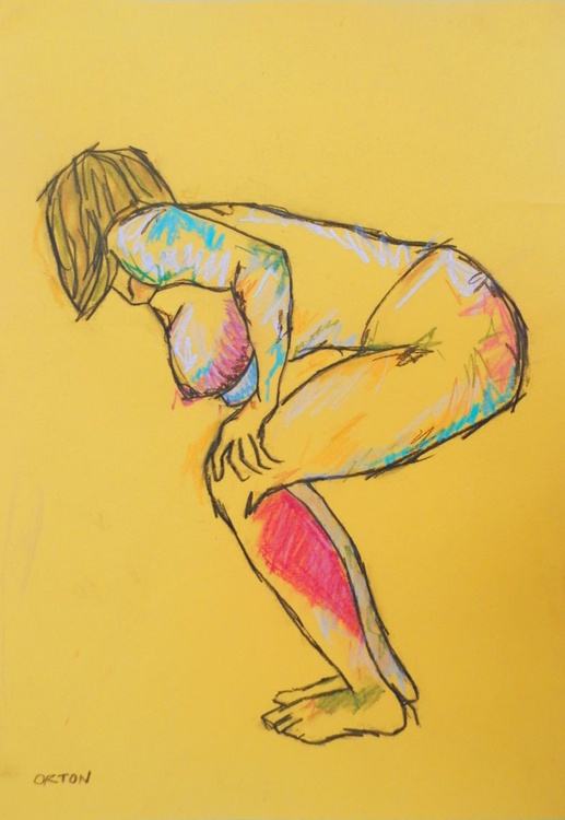 Female Nude Original Charcoal Pastel Figure Study Bending Female Model Life Drawing Gesture - Image 0