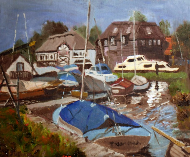 """Boats at Horning, Norfolk Broads. An original Oil Painting on board size: 12"""" x 10"""" Lovely! - Image 0"""