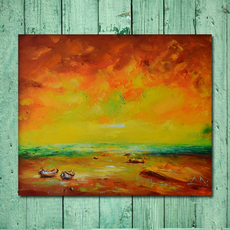 """The sea of """"Mo"""",  Seaside Painting, Free Shipping - Image 0"""