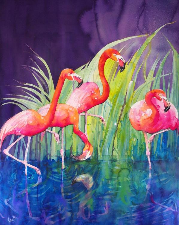 "Flamingo Night (110 x 145 cm / 43.3"" x 57.1"") - Image 0"