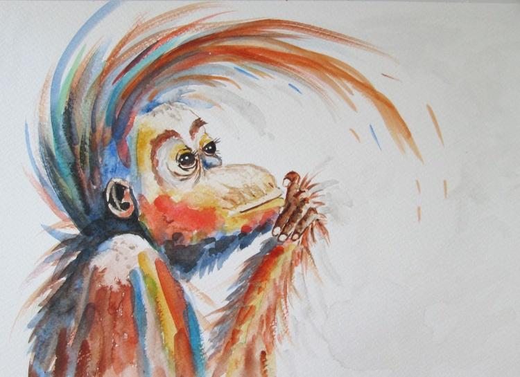 """ HAPPY ORANG-UTAN"", Monkey Primate Orangutan Pet Portrait original watercolour painting - Image 0"
