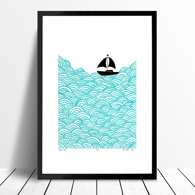 Bigger Boat in Aqua - Framed - FREE UK Delivery - Image 0