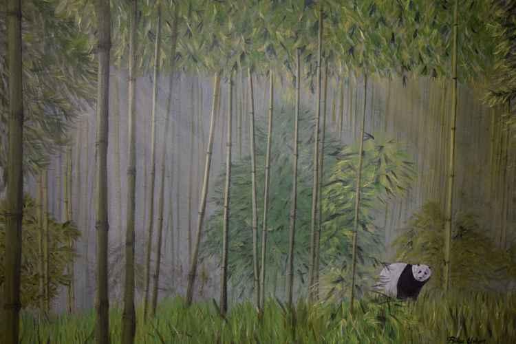 panda in bamboos -