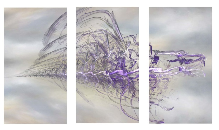 MIST 1 ---  STUNNING abstract Canvas Triptych HUGE 120x80cm - Image 0