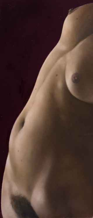 Nude torso leaning back -