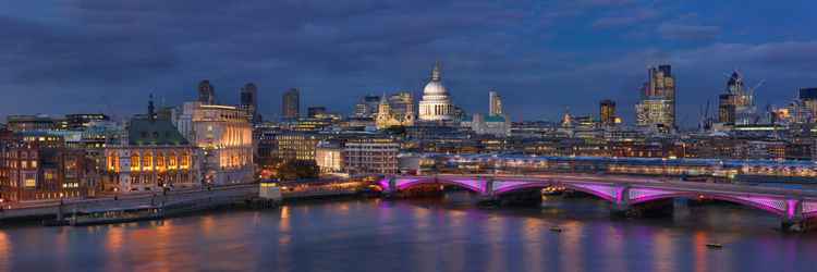 Panorama over Blackfriars Bridge with St. Paul's and The City -