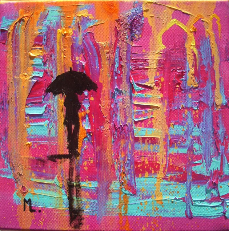 """ Loneliness in Morocco "" original painting CITY STREET RAIN full of colours - Image 0"