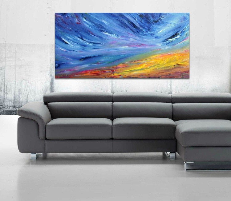 The dragonfly flew slowly - 120x60 cm, Original abstract painting, oil on canvas - Image 0