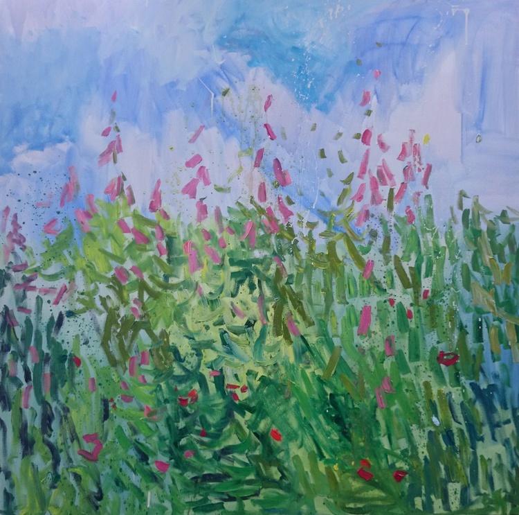 Foxgloves meadow. 100X100cm - Image 0
