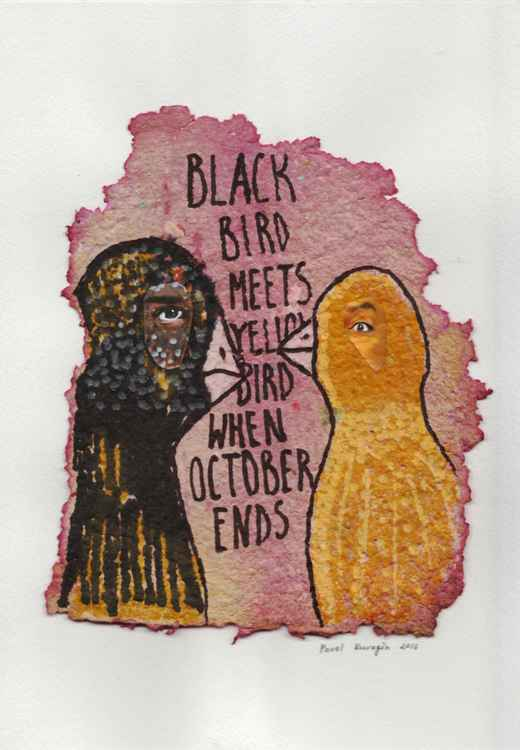 Black bird meets yellow bird when October ends... -