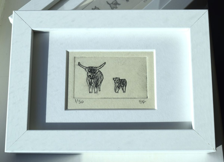 Highland cows - small framed print - Image 0