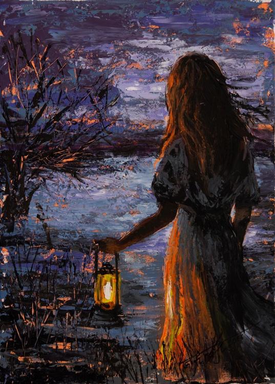 """Light of hope"",original acrylic painting 50x70cm, ready to hang - Image 0"