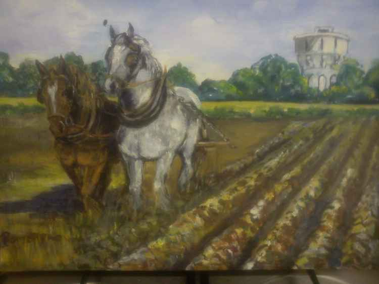 Ploughing by the Watertower, Yorkshire. -