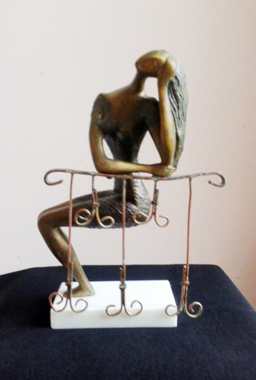 "Girl in the Balcony BRASS Sculpture 1998 15 in""  Sculpture : Mixed Metals. - Image 0"