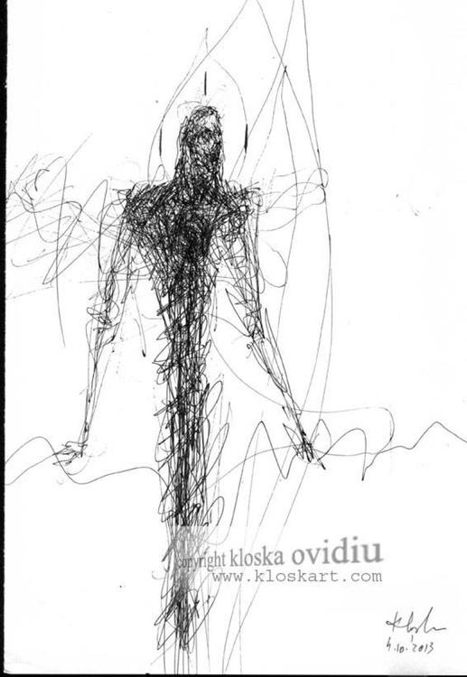 SPIRITUAL ECLECTIC SPONTANE INK DRAWING BY KLOSKA ANGEL THEME THE ESCAPE FROM THE MUNDANE WORLD - Image 0