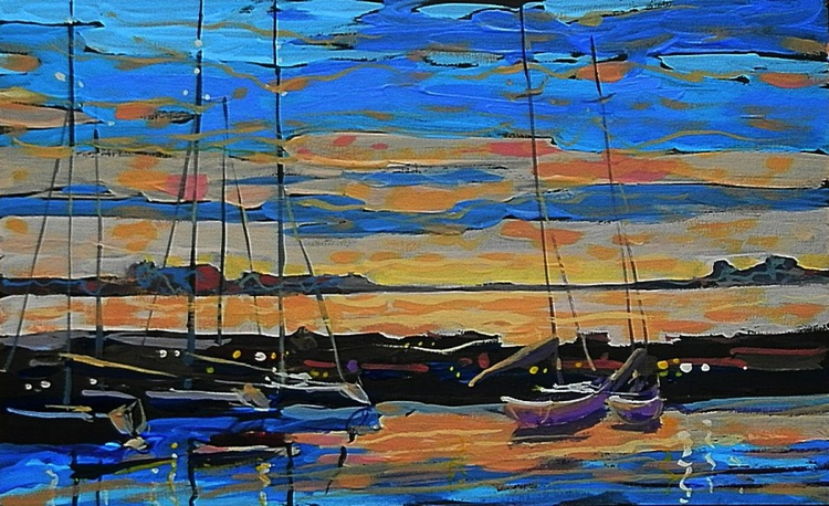 evening pier. original painting 18x29.5 cm - Image 0