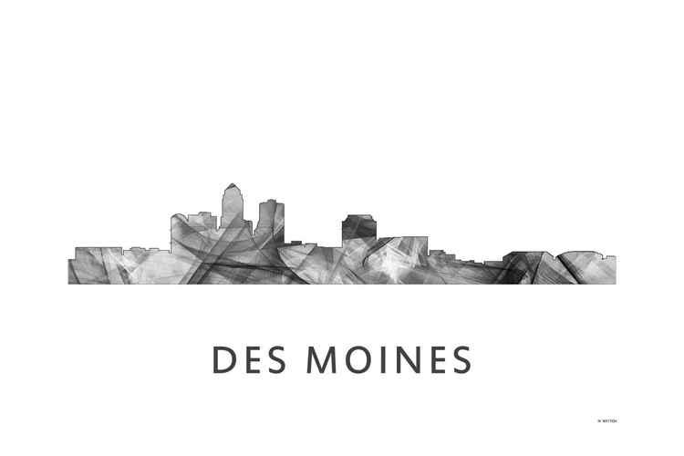 Des Moines Iowa Skyline WB BW -