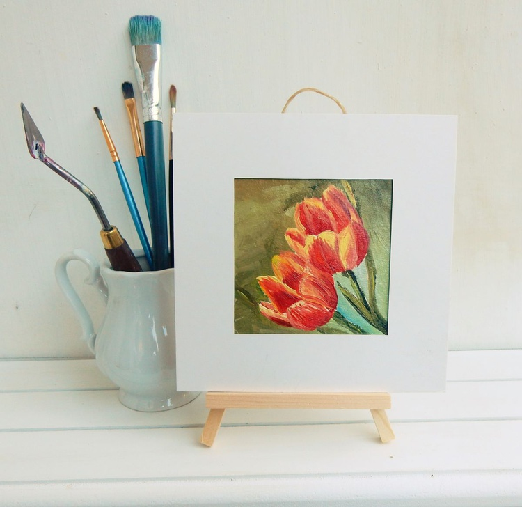 Tulips. Miniature. Easel is included. Gift painting. Ready to hang. - Image 0