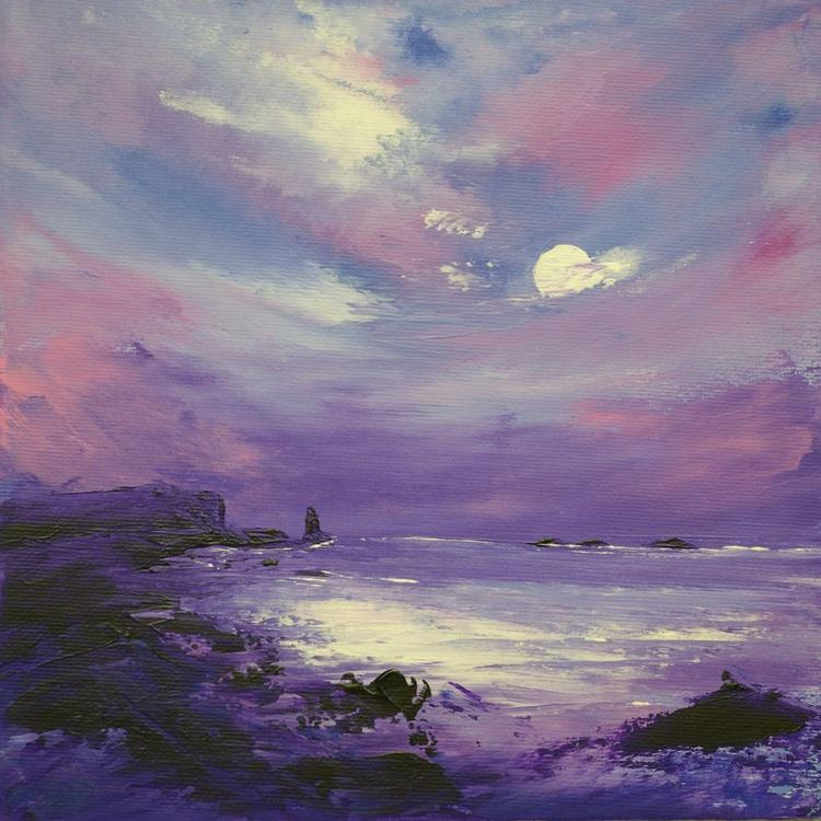 Purple Moonlit Seastack, seascape painting - Image 0