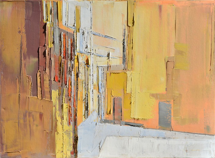 """Original, abstract oil painting """"City O8 """". The image is 100% authentic, oil painting on cotton canvas,50/70 cm. - Image 0"""