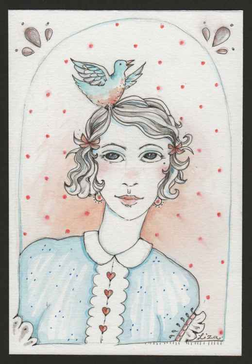 Hello Bluebird!  original watercolour and ink miniature painting of a girl and blue bird