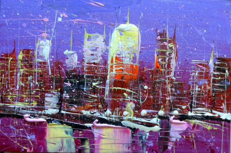 City, original painting 30x20 cm - Image 0