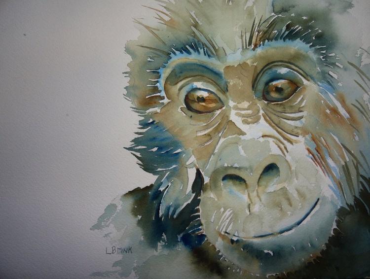 gorilla watercolor painting - Image 0